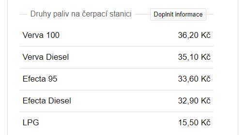 Cena paliv na čerpací stanici